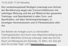 Sportverbot durch die LHS wegen Coronavirus