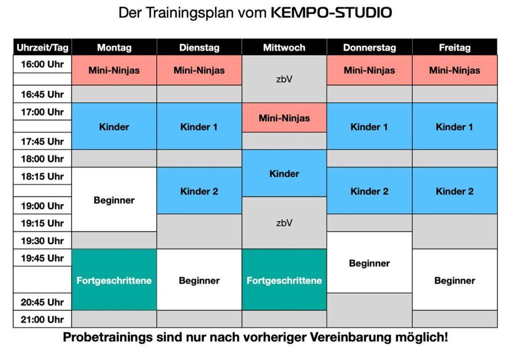 Trainingsplan KEMPO-STUDIO